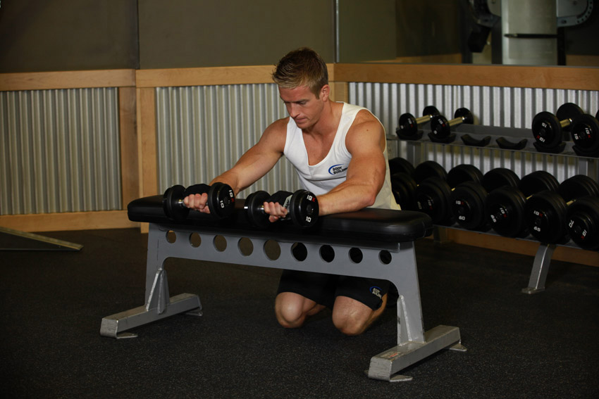 Palms-Down Dumbbell Wrist Curl Over A Bench 2